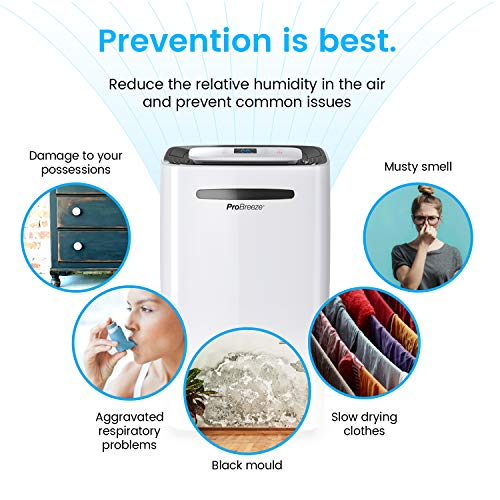 Pro Breeze® 20L/Day Dehumidifier with Digital Humidity Display, Sleep Mode, Continuous Drainage, Laundry Drying and 24…