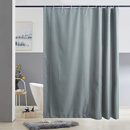 Furlinic Duschvorhang 180x200 Grau Anti-schimmel Wasserdicht & Waschbar, Badvorhang aus Polyester Stoff für Badewanne & Dusche,Textil Netzmuster mit 12 Duschvorhangringe.
