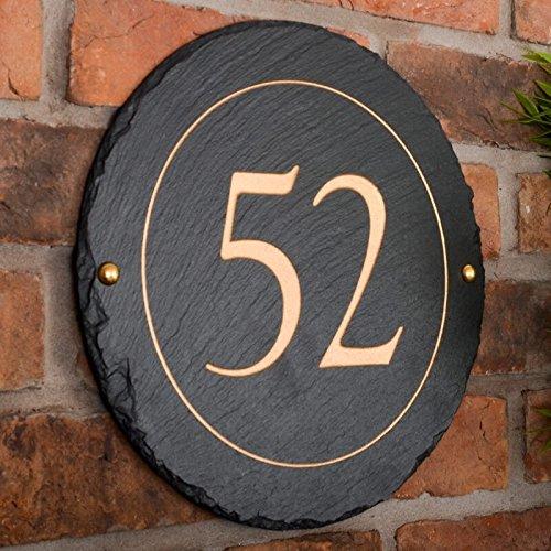 Signs & Numbers Rond rugueuse Ardoise plaque avec votre choix de Nombre