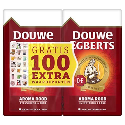 Douwe Egberts Filterkoffie Aroma Rood Dubbelpak met Gratis 100 Extra Waardepunten (6 Kilogram, Intensiteit 05/09, Medium…