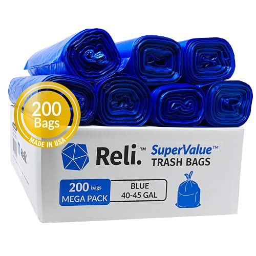 Reli. SuperValue 40-45 Gallon Recycling Bags (200 Count, Bulk) Blue Trash Bags for Recycling, MADE IN USA (40 Gallon - 42 Gallon - 45 Gallon Trash Bags) Large Garbage Bags/Can Liners 40-45 Gal, Blue