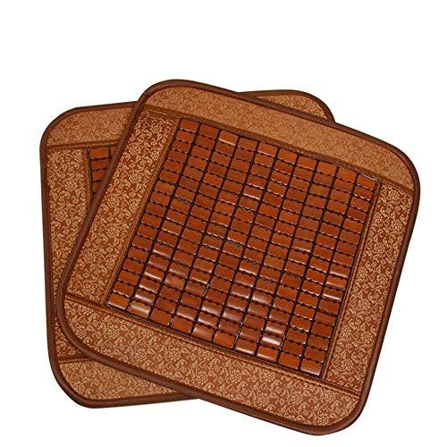 Ecloud Shop 2pcs Estera del Amortiguador de Asiento de bambú, Cojín Premium Silla Cuadrada Natural refrescante Transpirable para el Verano-Adecuado para Asiento de Coche y sillas de Oficina