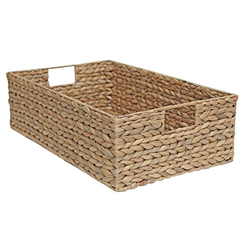 Casa Furnishings Wicker Storage Basket, Shelf Drawer, Long Rectangle - Natural Water Hyacinth (Medium - L 50 x W 30 x H 15cm)
