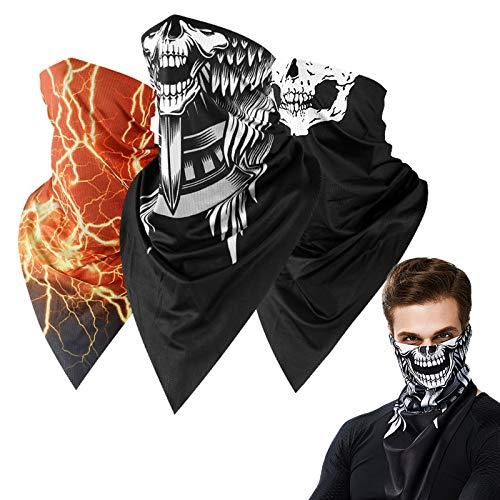 Neck Gaiter Skull Face Mask Bandana Shield for Half Face Rave Mask Men Women Black