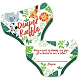 Big Dot of Happiness Jungle Party Animals - Diaper Shaped Raffle Ticket Inserts - Safari Zoo Animal Baby Shower Activities - Diaper Raffle Game - Set of 24