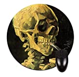 Vincent Van Gogh Skull of A Skeleton with A Burning Cigarette- 8' Round Mouse-Pad/Mouse-Mat