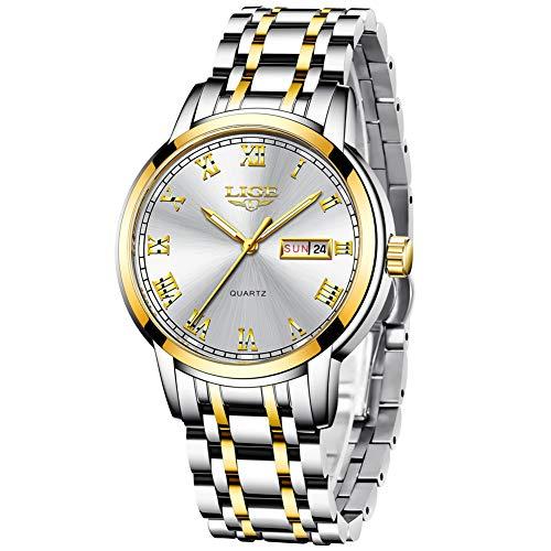LIGE Relojes Hombre Acero Inoxidable Impermeable Deportes Analógico de Cuarzo Hombres Reloj Lujo Calendario Dorado Blanco Reloj Hombre