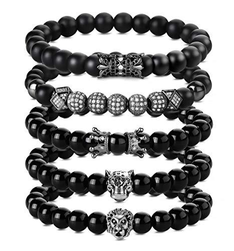 Besteel 5PCS 8MM Stone Beads Bracelets for Men Lion Leopard Head Charm...