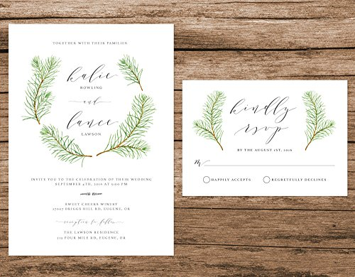 Watercolor Pine Tree Wedding Invitation, Pine Trees Invitation, Woodsy Wedding Invite, Rustic Forest Wedding Invitation