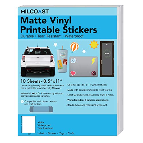 Milcoast Matte Waterproof Printable Vinyl Full Sheet Sticker Paper Labels - Adhesive, Inkjet/Laser Printer Compatible - for Arts, Crafts, Decals, Stickers, and More (10 Sheets)