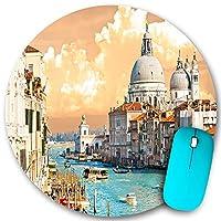 KAPANOU ラウンドマウスパッド カスタムマウスパッド、ヴェネツィアの大運河イタリア歴史的なヨーロッパの街並みタウンタワー自由奔放に生きる、PC ノートパソコン オフィス用 円形 デスクマット 、ズされたゲーミングマウスパッド 滑り止め 耐久性が 200mmx200mm