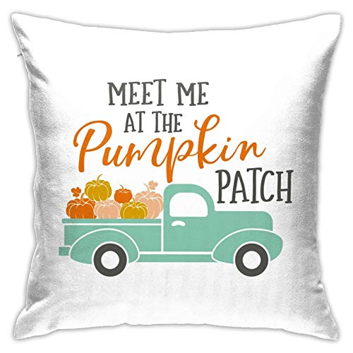 niBBuns Pillow Case,Fall Meet Me at The Pumpkin Patch Harvest Truck,Square Decorative Throw Pillow Case Cushion Cover 18 x 18 inch
