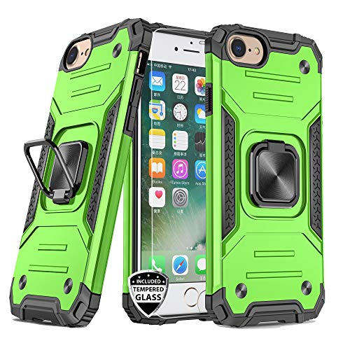 REEJAX iPhone SE 2020 Case,iPhone 7 Case,iPhone 8 Case with Screen Protector,Heavy Duty Rugged Cover with Magnetic Ring Kickstand,Protective Phone Case for iPhone 7/8/SE 2020 Green