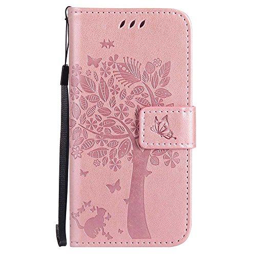 C-Super Mall-UK Custodia iPhone 5C, Sbalzato Albero Gatto Farfalla Modello PU Pelle Portafoglio Stand Flip Cover per Apple iPhone 5C(Non per Apple iPhone 5/5S/SE)- Oro Rosa