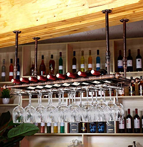 MTYLX Estante de Vino, Soporte de Exhibición, Gabinete de Vino, Portabotellas de Vino Vintage Estantes de Vino Altura Ajustable Al Revés Estante para Colgar Vasos de Metal Hierro Champaigne Flautas C