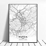 linbindeshoop Lleida Toledo Logroño Vigo Murcia Burgos España Lienzo Arte Pintura Mapa Sala de Estar Cocina Cartel (LQ-158) 40x60cm Sin Marco