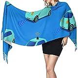 Sciarpa coperta lunga per auto da polizia carina per donna, scialli nappa moda avvolge sciarpa, morbido cashmere sensazione calda inverno