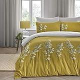 Dreams & Drapes - Set copripiumino per letto matrimoniale, motivo: fiori orientali, colore: Giallo ocra