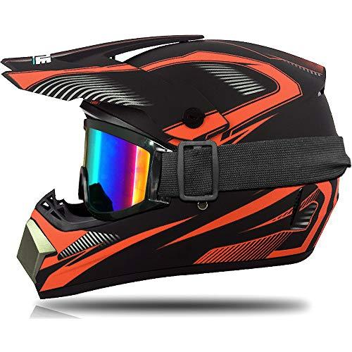Casco Motocross Uomo, Casco Integrale MTB Adulto con Occhiali Guanti Mascherina Casco Cross per Moto Bici Motard Offroad Enduro Downhill Sport