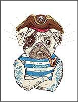 【FOX REPUBLIC】【フレンチブルドッグ 海賊 キャプテン いぬ 犬】 白マット紙(フレーム無し)A2サイズ