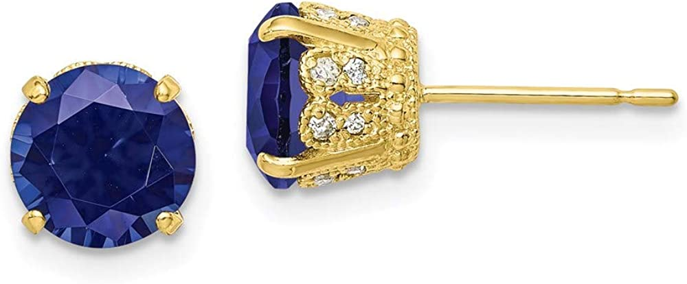 10k Yellow Gold Diamond Lab Created Sapphire Post Stud Earrings Birthstone September Gemstone Fine Jewelry For Women Gifts For Her