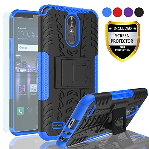 AYMECL LG Stylo 3 Case,LG G Stylo 3 Plus Case,Tire Pattern Design Heavy Duty Dual Layer Shock Resistant Armor Kickstand Cover with HD Screen Protector for LG Stylus 3 2017-HN Blue