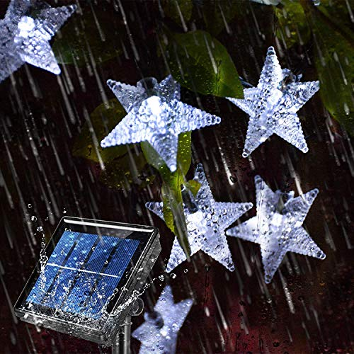 Cadena de luces solares para jardín, 5 m, 20 luces LED para exteriores, funciona con energía solar, impermeable, con 8 modos de cadena de luces de Navidad para patio, césped (blanco)