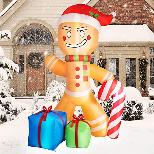 Rocinha Christmas Inflatable Gingerbread Man 7.6 FT Giant Christmas Inflatables with 2 Gift Wrapped Boxes & Candy Cane Christmas Blow up Yard Decorations - Bright Built-in LED Lights