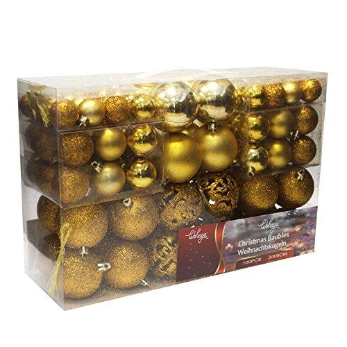 Wohaga Weihnachtskugel-Set Christbaumkugeln Baumschmuck Weihnachtsbaumschmuck Baumkugeln, Farbe:Gold, Größe:100
