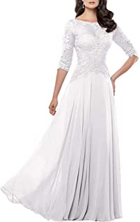 Fitty Lell Women s Lace Chiffon Mother of The Bride Dress Half Sleeves Formal  Prom Gowns 1e2a5a574