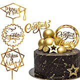 Whaline Graduation Cake Topper Gold Acrylic Cake Topper Congrats Grad...