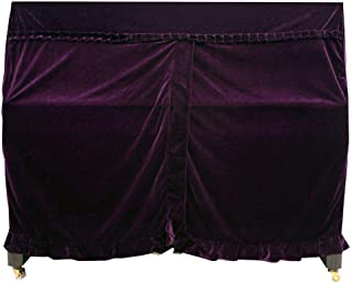 SODIAL Practical Full Piano Cover Pleuche Decorated with Macrame for Universal Upright Vertical Piano Purple