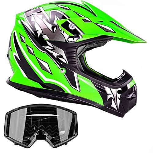 Kids Youth Offroad Gear Combo Helmet & Goggles DOT Motocross ATV Dirt Bike MX Motorcycle Green Black, XL