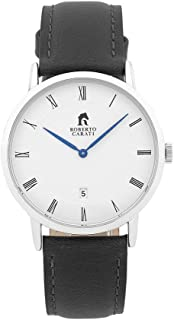 Bevilles Roberto Carati Vincent Black Silver Watch SS292-V1 Leather Date SS292-V1