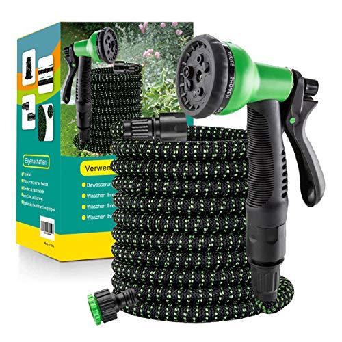 Flexibler Gartenschlauch Wasserschlauch Flexibel mit 8-Funktions-Düse Brause Adapter aus Plastik Aufhänger Bewässerung Gartenarbeit Autowäsche Hof 50FT(15m)/75FT(22.5m)/ 100FT(30m)/ 150FT(45m)