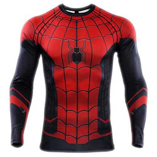HOOLAZA Avengers Super Heroes Hombres Camiseta de compresión de Manga Larga 2019 Spiderman Tops M