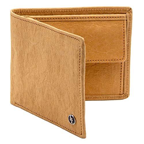 Herren Geldbörse aus veganem Papierleder, Männer Portemonnaie mit RFID-Schutz, Vegan Wallet, Papier Geldbeutel nachhaltig (Hellbraun) | LOCKLAIR