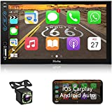 Hieha 7 in Car Stereo Compatible with Apple CarPlay and Android Auto, Double Din Standard Universal Touch Screen Car FM/AM Radio Receiver, MP5 Player with Bluetooth Rear View Camera