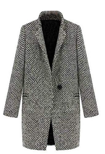 Parker damski pepitka wąski krój płaszcz wiosenny trencz wyjątkowy jesienny długi płaszcz długi rękaw klapa z kieszeniami guziki hipster płaszcz odzież wierzchnia