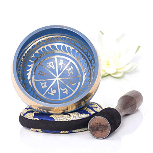 Silent Mind ~ Tibetan Singing Bowl Set ~ Blue Color Design ~ With Dual Surface Mallet and Silk Cushion ~ Promotes Peace, Chakra Healing, and Mindfulness ~ Exquisite Gift (Blue)