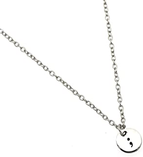 Qlychee Semicolon Circle Necklace Suicide Depression Awareness Pause Inspiration Necklace 1Pc