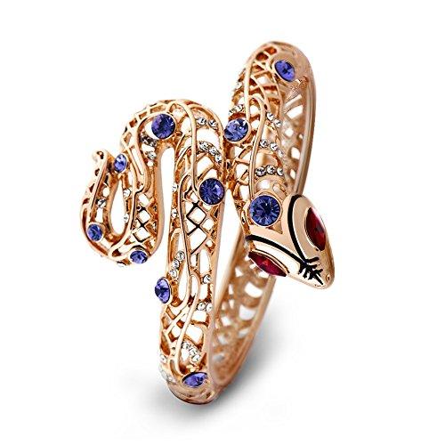 Viennois Sexy Schlangenarmband mit violetten Kristallen und roten Strasssteinen für Damen (rotes Auge)