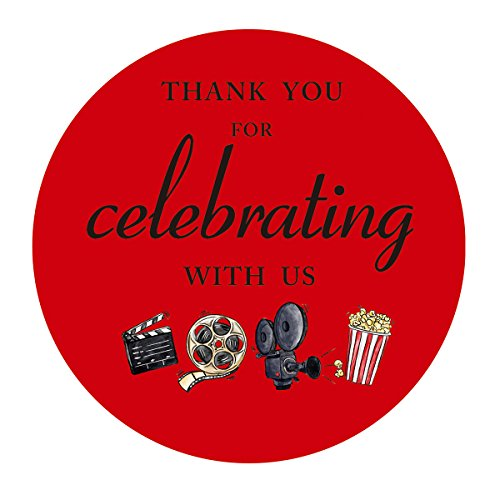 MAGJUCHE Movie Night Thank You Stickers, Cinema Theater Hollywood Themed Birthday or Other Party Favor Sticker Labels, 2 inch, 40-Pack