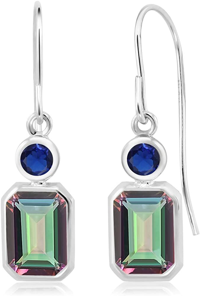 Ranking TOP15 Gem Stone King 2.26 Ct Green Created Mystic Sapphire 67% OFF of fixed price Topaz Blue