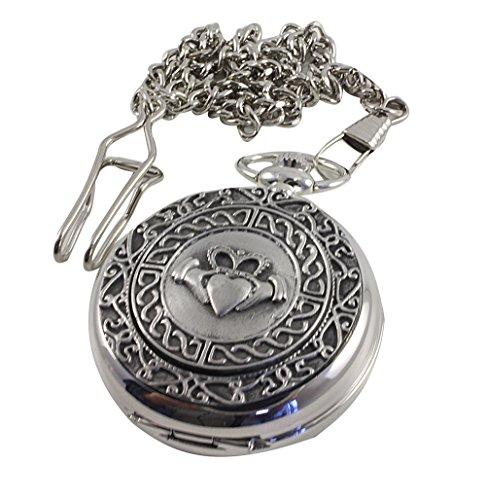 Mullingar Pewter Pocket Watch Celtic Claddagh Mechanical