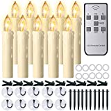 Window Candles, PChero 10 Packs Warm White Battery Operated Waterproof LED Flameless Taper Ivory Floating Candles with Remote Timer and Dimmable, Ideal for Home Indoor Outdoor Christmas Trees Decor