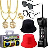 9 Pieces 80s/90s Hip Hop Costume Kit Mobile Phone Inflatable Radio Boom Box Necklace Ring Sunglasses Bucket Hat Rapper Accessories for Party Cosplay Supplies