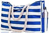 Beach Bag XXL (HUGE) - 100% Waterproof - L22'xH15'xW6' - Rope Handles - Top Magnet Clasp - Outside Pockets - Beach Tote has Waterproof Phone Case, Key Holder, Bottle Opener
