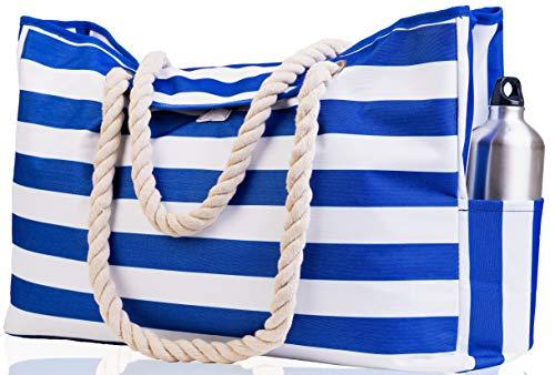 "Beach Bag XXL (HUGE) - 100% Waterproof - L22""xH15""xW6"" - Rope Handles - Top Magnet Clasp - Outside Pockets - Beach Tote has Waterproof Phone Case, Key Holder, Bottle Opener"