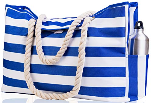 Beach Bag XXL (HUGE). 100% Waterproof. L22'xH15'xW6'. Cotton Rope Handles, Top Magnet Clasp, Outside Pockets. Dark Blue Stripes Shoulder Beach Tote has Phone Case, Built-In Key Holder, Bottle Opener